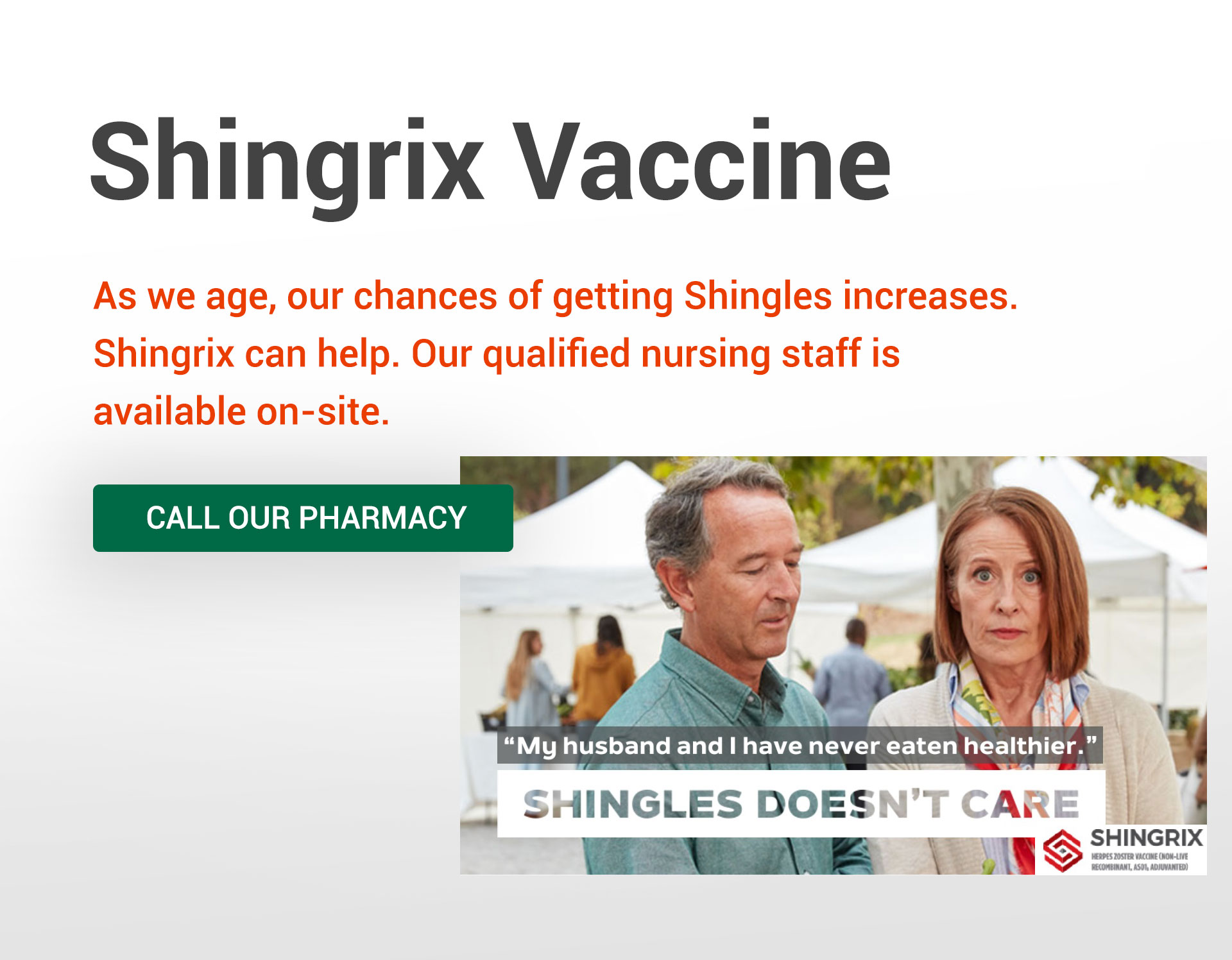 Shingrix Vaccine available in-store