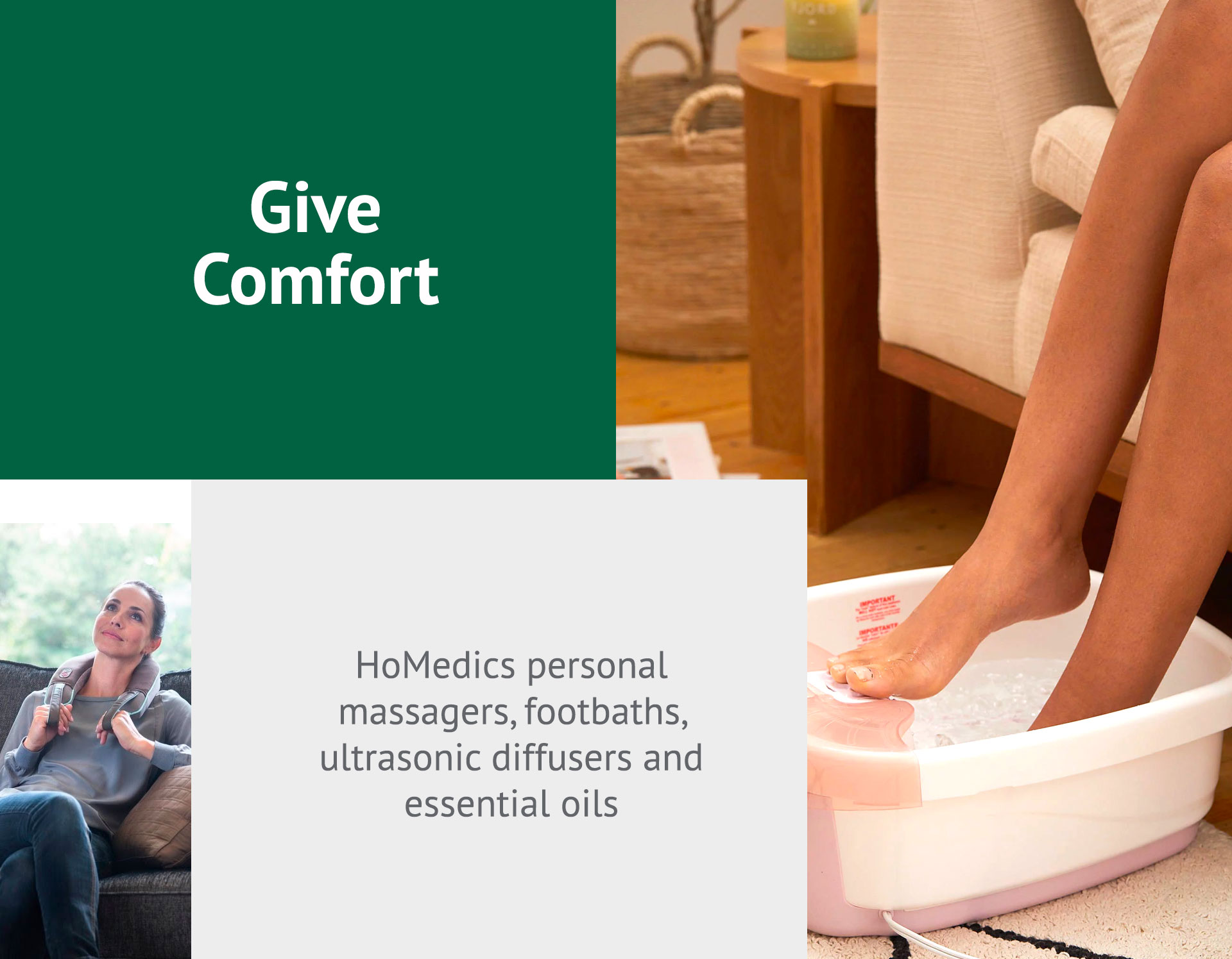 HoMedics personal massagers, footbaths, ultrasonic diffusers and essential oils
