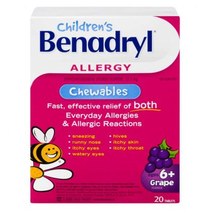 Benadryl Kids Chewable Tabs Grape 12
