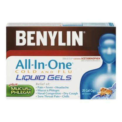 Benylin All In One Cold & Flu Liquid Gels 20