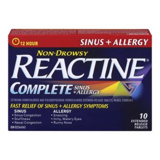 Reactine Sinus & Allergy Non Drowsy 10 Tab