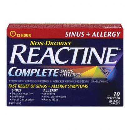 Reactine Sinus & Allergy Non Drowsy 10 Tab