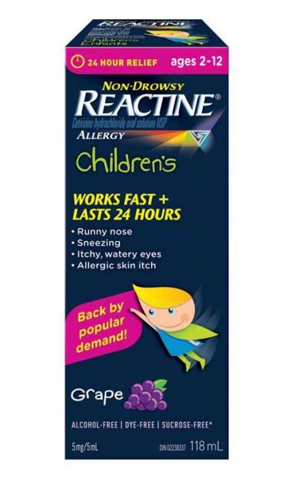 Reactine Childrens Grape 118ML