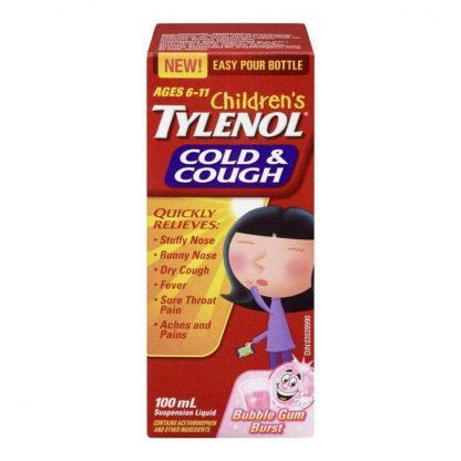 Tylenol Childrens Cold & Cough Susp Bubble Gum 100ML