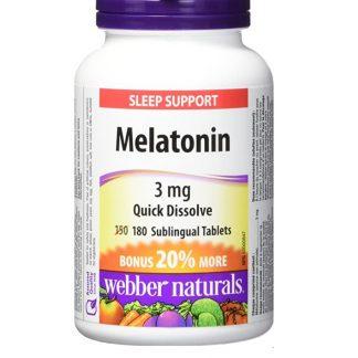 Webber Naturals Vitamin Melatonin 3MG Quick Dissolve 90 Subl Tab