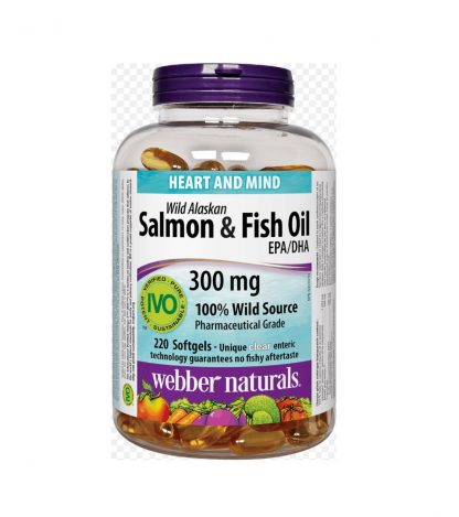 Webber Naturals Wild Alaskan Salmon & Fish Oil 300MG 220 Softgels